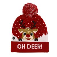 15 Styles Newarrival Christmas Beanies Snowman Elk Christma Tree Flanged Knitted Hat with Balls and LED Colorful Lights Decorative Hats 9301