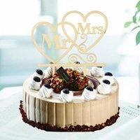 Hölzerne Mr. Mrs Cake Topper DIY Liebe Herz Hochzeitstorte Dekorationen Laser Schnitt Holz Buchstaben Kuchen Topper HWF6792