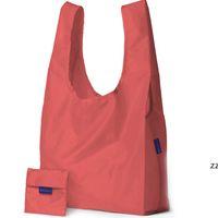에코 친화적 인 저장 핸드백 접이식 사용 가능한 쇼핑백 재사용 가능한 휴대용 식료품 점 나일론 대형 가방 순수한 색 HWE8568
