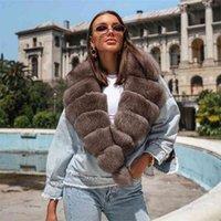 FURSARCAR High Quality Real Fur Coats Winter Women Coats Fashion Warm Fur Collar Jean Splice Jacket Female Overcoat 210913