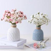 Buket Yapay Şakayık Çay Gül Çiçekler Pot Ile Ipek Sahte Flores Düğün Çiçek DIY Ev Bahçe Dekorasyon Bitkiler Dekoratif Çelenk