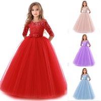 Adolescenti Dress Dress Estate Abbigliamento per bambini Partito elegante principessa lungo tulle bambine bambini pizzo cerimonia di nozze abiti 966 x2