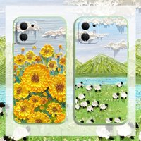 Soft TPU Colorful Fashion Designer Cell phone Cases CC Flower Scenery Oil Painting For iPhone6 7 812 11 XS Pro Max XRmini Plus