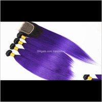 EXTENSIONS WEFTS PRODUITS DROP DROP DROP LIVRAISON 2021 BUNDLES DÉTRISES OMP Vierge Vierge Brésilienne avec Fermeture de cheveux 4x4 Couleur 1b / Purple 10-18inch WG
