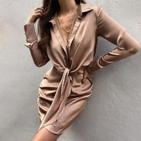 Casual Dresses Special Interest Design Mini Dress Summer Long Sleeves Women Irregularity Pleated Vocation Style Sexy Loose White Shirtdress