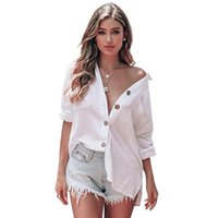 Casual Loose Women Shirts Fashion Collar Plus Size Blouse Long Sleeve Buttons White Shirt Tops L Women's Blouses &