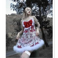 Casual Dresses Original Christmas Red Gothic Light Lolita Slip Dress White Hairy Edge Embrodery Lace Big Bow Winter Girl Spaghetti