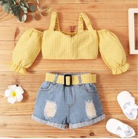 Girls Clothes Sets Toddler Kids Off Shoulder Yellow Plaid Tops+Denim Shorts 2pcs Outfits Summer Children Clothing