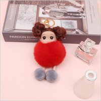 keychain Creative cute hair Plush Barbie doll key chain high quality ball bag and other hanging accessories