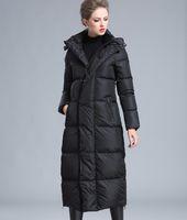 Womens winter clothing puffer zipper down coat big size 4XL black gray navy blue thick warm large size long down jacket