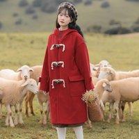 Women's Wool & Blends 2021 Winter Hooded Woolen Coat Solid Color Loose Pocket Horn Button Long Sleeve Korean Style Womens Coats