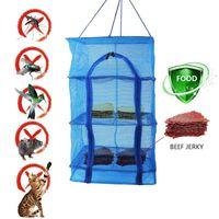 Hangers & Racks Fish Mesh Hanging Drying Net Dehydrator Durable Folding 4 Layers Vegetable Dishes Dryer Rack