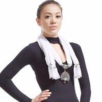 Pingente colares Lureme vintage lenço colar com pavão por muito tempo para mulheres (sf000087)