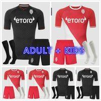 Kit de crianças adultos 2021 2022 Fabregas Jerseys de futebol como flocagem de Mônaco Jorge Ben Yedder s Jovets Golovin 21 22 Maillot de Foot Football Shirts
