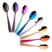 Spoons 8pcs set 304 Stainless Steel Coffee Spoon Creative Small Tea Colorful Stirring Children Soup Cute Tableware