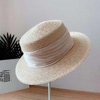Cappelli Cappelli 2021 Light Light Lusso Design Lafite Paglia da donna Estate Sole Protezione solare Biancheria Bordo Small Edge Bordo piatto Cappello Tide