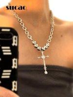 Catene Fashion Classic Cross Semplice Design Pendant Big Ankh Collana per donna Party Catena in acciaio inox Acciaio inox Regali di gioielli romantici