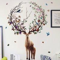 Pegatinas de ciervos creativos Pájaros Colorida Birds Blanco Árbol Rama Habitación Decoración de Pared Decoración de Navidad Vinilo Calcomanías