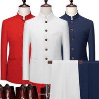 Men's Suits & Blazers 2021 Fashion Men Retro Party 2 Piece Set Blazer Pants Luxury Embroidery Tang Suit Jacket Trousers Plus Size M-6XL Pcs