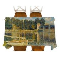 Table de table Monet-Argenteuil Pont Peinture Décorative Nappe en lin imperméable de la nappe rectangulaire Couverture de salle à manger rectangulaire épaisse