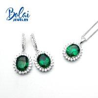 Bolaijewelry, Created Green Emerald Oval 10*12mm Earring Pendant 925 Sterling Silver Fine Jewelry For Women Gift Bracelet, Earrings & Neckla