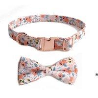 Colares de cão de fonte de estimação com laço de pano simples de algodão floral para cães pequenos DHB6014