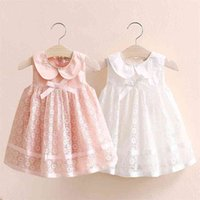 Summer 2-10 Years Children's Party Prom Cute Peter Pan Collar Pink White Tank Lace Bow Layered Dresses For Kids Girls 210730