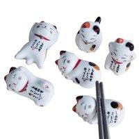 Essstäbchen 5 stücke Japanische Haus Küche EL Dekoration Cartoon Rest Glücklicher Katzenhalter Keramische Gestelle