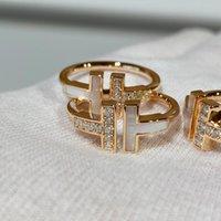 Nowy podwójny otwór w kształcie litery T 925 Sterling Silver Band Pierścionki, 1.1z Oryginalne logo Moda Biżuteria