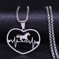 Collana ECG Heartbeat Horse Cappello in acciaio inox per donna / uomini argento Color Dichiarazione Collane gioielli Collier Femme N4437S01