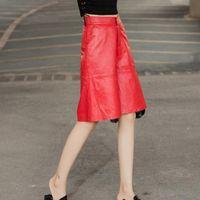 المرأة السراويل كابريس 2021 الركبة طول جلد حقيقي الساق واسعة النساء المتناثرة فضفاضة جلد الغنم الطبيعي السراويل السيدات قصيرة الشارع الشهير