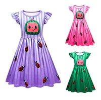 Cocomelon estate bambine bambine ruffle manica vestito watermelon coccinella stampato ragazze ragazze abiti da principessa festa di compleanno indossare abbigliamento G5203ut