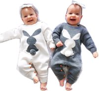 INS Baby kids rabbit knitted sweater rompers infant girls round collar stereo pompon long sleeve jumpsuits toddler boys cartoon climb clothing Q2087