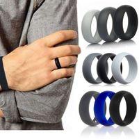 3pcs Sile Wedding Finger Ring Men Women Black Blue Grey Rubber Band Environmental Rings Gym Size 6-12
