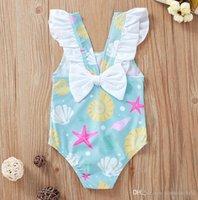 Baby One Pieces Girls Kids Swimwear Cute Bow Ruffles Shell Starfish Print Toddler Bikini Infant Swimsuit Bathing Suit
