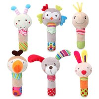 Baby Rattles Cartoon Stuffed Animal Soft Plush Hand Rattle Squeaker Sticks for Toddlers Newborn Babies Infant Early Development Games - B100