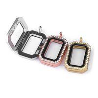 DIY pequena caixa de foto aberta pingente strass quadrado colar pingente presentes de festa chaveiros pingente 3 cor gwd6210