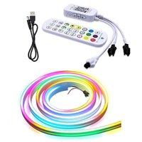 Strips 1m 2m 4m 5m WS2812B USB 5V Bluetooth Flex LED Strip Neon Lamp TV DIY Pixels Addressable APP Smart Music WiFi RGB Rope Light IP67