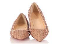 Париж женские повседневные квартиры красные нижние шипы плоские шипы обувь патентная кожа POGALLE заостренный носок на открытом воздухе