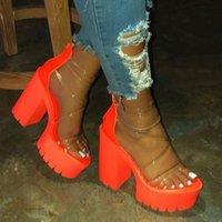 Dress Shoes Night Club Party Platform Chunky Heel Sandals Summer Plus Size Transparent Gladiator Women 43