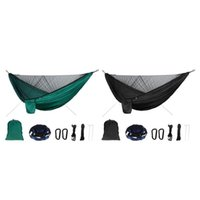 Camp Furniture Durable Camping Hammock With Net Nylon Hiking 300kgs Hanging Bed Mosquito Bug Block 290x140cm Carry Bag