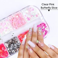 Nail Art Kits 12 Grids Holographic Butterfly Glitter Flakes 3D Sparkly Gold Foils Sequins Polish Manicure For Acrylic Decoration