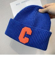Luxury Brand Caps Korean Chao br Klein Blue knitted wool hat autumn winter warm cold net red couple Pullover men women