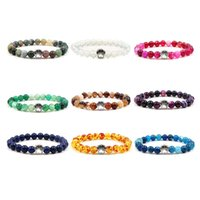 Charm Bracelets 9 Colors 6mm Colourful Natural Stone Beads Dog Cat Footprint Bracelet Pet Lover Strench Jewelry
