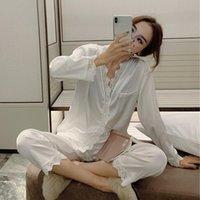 Pijama Kadın Han Baskı Seksi Dantel Buz Ipek Chunqiu Uzun Kollu İki Takım Elbise Tatlı Prenses Rüzgar Ev Giysileri