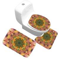 Bath tapete de 3 peças conjunto padrão clássico tampa toalete pad pad antiderrapante absorvente absorvente porta banheiro flanela macio bathr tapete tapete