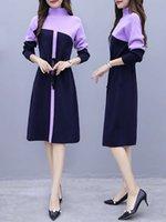 Abiti casual Dress Dress High Collar Knitted Donne Ginocchio Autunno e Inverno Grande dimensione Allentata Lunghezza media Lunghezza Vita Lunghezza manica lunga base di lana DUZY