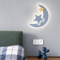 Modern Bedroom Wall Lamps Simple Children's House LED Lighting Nordic Decoration Aisle Study Bedside Lamp Creative Indoor Living Room Star Moon Wall Light Fixtures