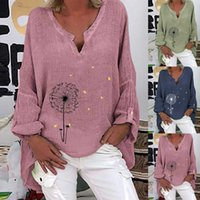 Plus Size Donne Donne Bloushe Oversize Casual Manica Lunga Stampa floreale Camicia V-Neck Shirt Camicetta Top Donna Abbigliamento Camisas de Mujer Y0606
