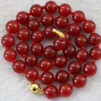 """매력적인 여성 붉은 염색 된 옥 자연석 chalcedony 라운드 비즈 8mm 10mm 12mm 특수 DIY 쥬얼리 목걸이 18 """"B1016 체인"""